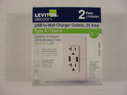 Leviton Andldquodecoraandrdquo Duplex Type A Outlet And Double Usb Charger 2 Pack Brand New