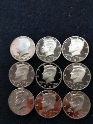 1990-s-1998-s9 Us Proof Kennedy Half Dollars From Us Proof Set Lots