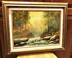 Oil Painting 12x16 Board N Fouch 67 Trees Rocks Bubbling Brook Green Yellow