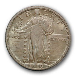 1918 D 25c Standing Liberty Quarter About Uncirculated To Ms Full Head Fh R525
