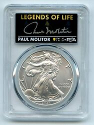2021 1 Silver Eagle T1 Last Day Production Pcgs Ms70 Legends Life Paul Molitor