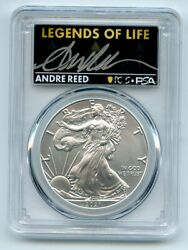 2021 1 Silver Eagle T1 Last Day Production Pcgs Ms70 Legends Of Life Andre Reed