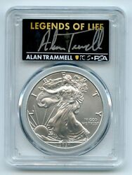 2021 1 Silver Eagle T1 Last Day Production Pcgs Ms70 Legends Life Alan Trammell
