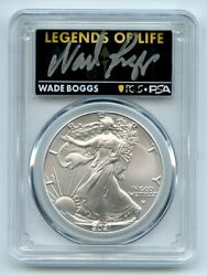 2021 1 Silver Eagle T2 First Production Pcgs Ms70 Legends Of Life Wade Boggs