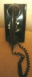Vintage Black Western Electric Bell System Rotary Wall Phone F1 Handset
