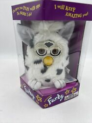 Vtg 1998 Furby White With Black Spots With Tag, Box, Manual + Dictionary 70-800