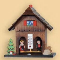 German Couple With Deer And Forest Wooden German Weather House With Thermometer