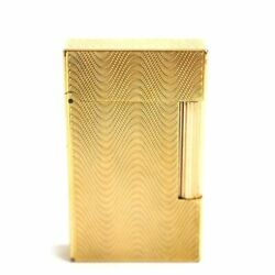 S.t.dupont Line2 Wave Pattern Rollergas Lighter Gold Made In France Fire