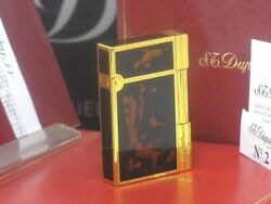 S.t.dupont Glossy Yellow Gold Genuine Lacquer Line2 Gatsby Gas Lighter Dupont