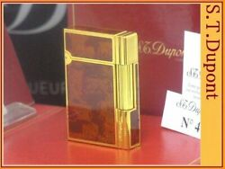 S.t.dupont Glossy Yellow Gold Genuine Lame Lacquer Line2 Gatsby Gas Lighter