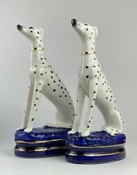 Vintage Fitz And Floyd Staffordshire Style Dalmatian Dog Bookends Figurines Set