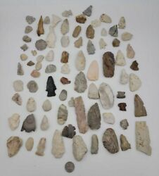 Authentic Illinois Native American Artifact Lot Arrowheads Points Drills 80 +