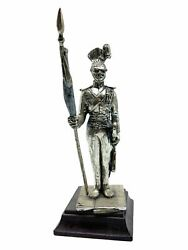 British Napoleonic Pewter Lancer And Flag Soldier Figure 5.5 Inch