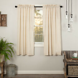 Simple Life Flax Natural Cotton Country Primitive Window Curtain Panels Drapes
