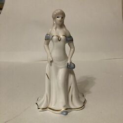 """Vintage K#x27;s Collection Ceramic Porcelain Figurine Of Lady In Dress . 6.5"""" Tall"""