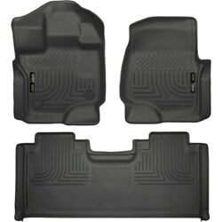 Set-h2119361-3 Husky Liners Floor Mats Set Of 2 Front New Black For F-150 Pair