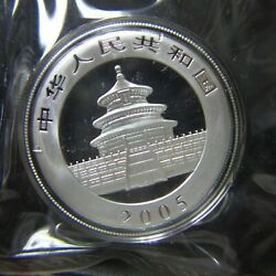 2005 China Silver Panda 1 Oz Silver Coin Bu In Mint Capsule And Plastic Sealed