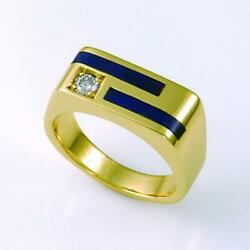 Unique Handcrafted Yellow White Gold Diamond Sapphire Ruby Lapis Mens Ring