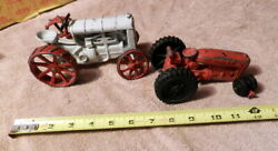 Fordson Toy Diecast Cast Iron Steel Farm Tractor And Broken Hubley Metal Tractor