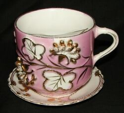 Antique Victorian Mustache Cup And Saucer Pink Luster And Gold Floral Embossed