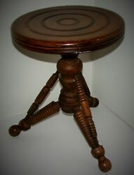 Antique Lyon And Healy Chicago Wooden Swivel Tripod Piano Stool