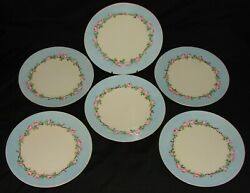 6 Antique Hermann Ohme Silesia Signed Salad Plates Pink Roses Vines Blue Edge