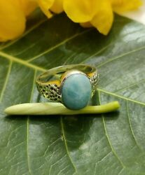 Larimar Ring, Sterling Silver, Dominican Larimar, Everyday Ring, Antique Ring Gi