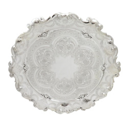 Antique Edwardian Sterling Silver 12 Tray / Salver 1901