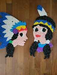 Vtg Melted Plastic Popcorn Boy And Girl American Indians Thanksgiving Handmade Usa