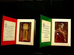 2 Twas The Night Before Christmas Hallmark Ornaments Lot Reindeer And Clock New