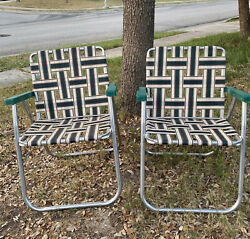 2 Vintage Rio Backyard Collection Aluminum Folding Lawn Camping Chairs Plaid
