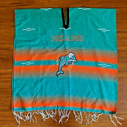 Vintage Miami Dolphins Nfl Football Poncho Mexican Tassel Blanket Embroider Rare