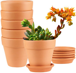 Terracotta Pots 4 Inch 6 Pack Clay Pots Terra Cotta Pots With Saucer Cute Clay P