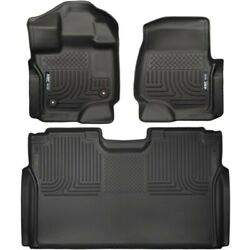 Set-h2118361 Husky Liners Set Of 2 Floor Mats Front New Black For F-150 Pair