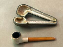 Vintage Genuine Meerschaum Real Amber Pipe With Fitted Case