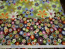 Lot of 2 Cotton Fabrics 1 2 Yard Each Michael Miller Colorful Flower