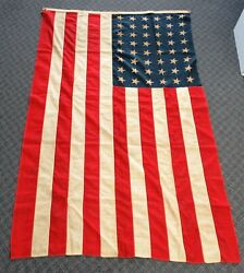 Pre 1959 Vintage 48-star American Flag 45 X 71 4x6 Great Patina/aging