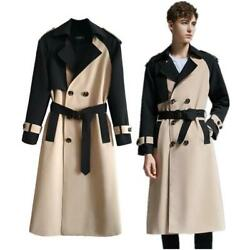 Menand039s Coat Overcoat Mid-length Double-breasted Lapel Contrasting Colors Sz 6xl