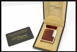 S.t.dupont Rare Items Gas Lighter Gatsby 15576 Brown Lacquer/gold