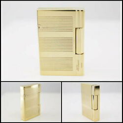 S.t.dupont Rare Pole Gas Lighter Gatsby 18240 Line2 Cut/gold Ry5778