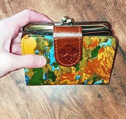 ✅NWT PATRICIA NASH Iberia Wildflower Leather RFID Bifold Wallet MSRP $119.00 $59.99