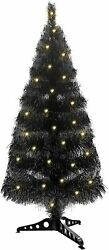 3 Feet Pre lit Artificial Halloween Black Tree Decoration with 50 LED Lights