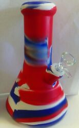 8 Silicone Beaker Style Water Pipe 14mm Glass Bowl - Red White And Blue Tye Dye