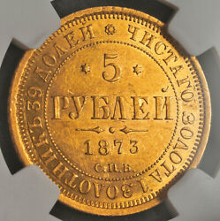 1873 Russia Emperor Alexander Ii. Gold 5 Roubles Coin. Scarce Date Ngc Ms-60