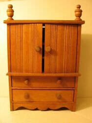 Antique Hand Made Wooden Doll Size Wardrobe Or Cupboard With Drawers