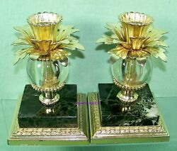 2 ANTIQUE CANDLESTICK HOLDERS BLACK MARBLE BASE USA by DILLY MFG. CO.