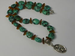 Carico Lake Mine Turquoise Agate Necklace Sterling Silver 925 Kokopelli Pendant