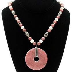 Fresh Water Pearl And 2 Donut Pink Rose Mauve Agate Medallion And Bead Necklace