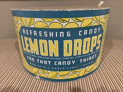 Old E. J. Brach And Sons Lemon Drop Candy Large Drum Container Nice Brachand039s
