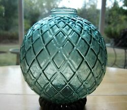 Old Large Quilted Lightning Rod Ball Globe Beautiful Bluish Green Teal Glass